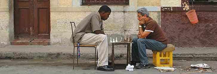 Playing chess in the streets of Havana